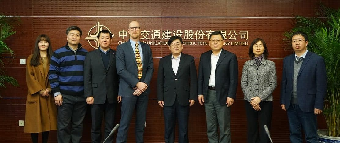 L to R: Ms. Shuang Huang (buildingSMART China) Dr. Jiang Shaohua (Dalian University of Technology) Mr. Lei Wei (buildingSMART China), Richard Kelly (buildingSMART International  COO), Mr. Ziyu Sun (CCCC Vice President), Mr. Liu Boying (CCCC President of Science and Technology), Ms. Li Qian (R&D Director CCCC ) , Mr. Chen Zhi (CCCC Deputy GM Engineering)
